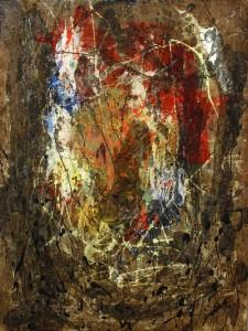 Estigia III (45x60,5cm) Acrílico y betún de judea sobre papel  tela montado sobre tablero DM