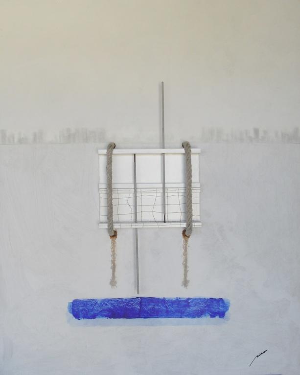 Horizonte IV (bruma geométrica sobre la bahía) (80x100cm) Técnica mixta sobre tablero DM