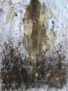 La roca (45x60,5) Acrílico y betún de judea sobre papel tela montado sobre tablero DM