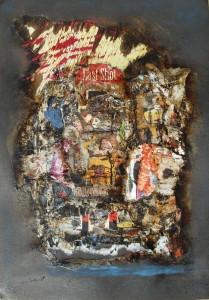 Last shot (29,5x41,5cm) collage, pastel y betún judea sobre papel-tela