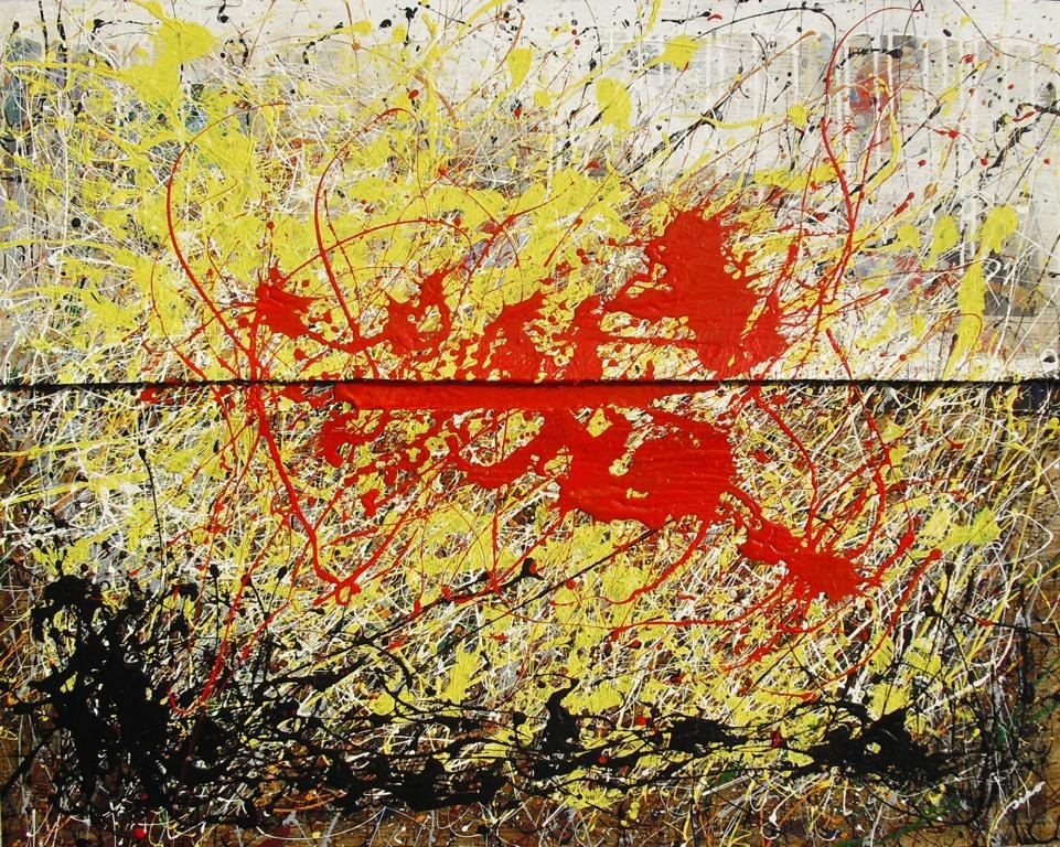 Luz de Mayo (100x80) collage, betún de judea y acrílico sobre tablero DM