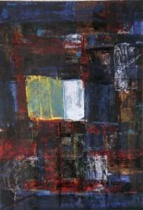 Nocturno con Ventana (19x28cm) óleo y acrílico sobre cartón