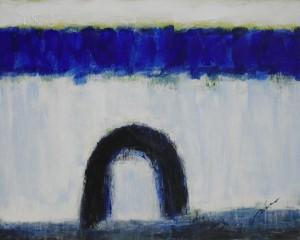 Glacial con arco negro (100x80) óleo y acrílico sobre tablero DM-2