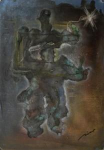 Personaje ferroso con estrella (29,5x41,5cm) óleo, pastel y betún judea sobre papel-tela