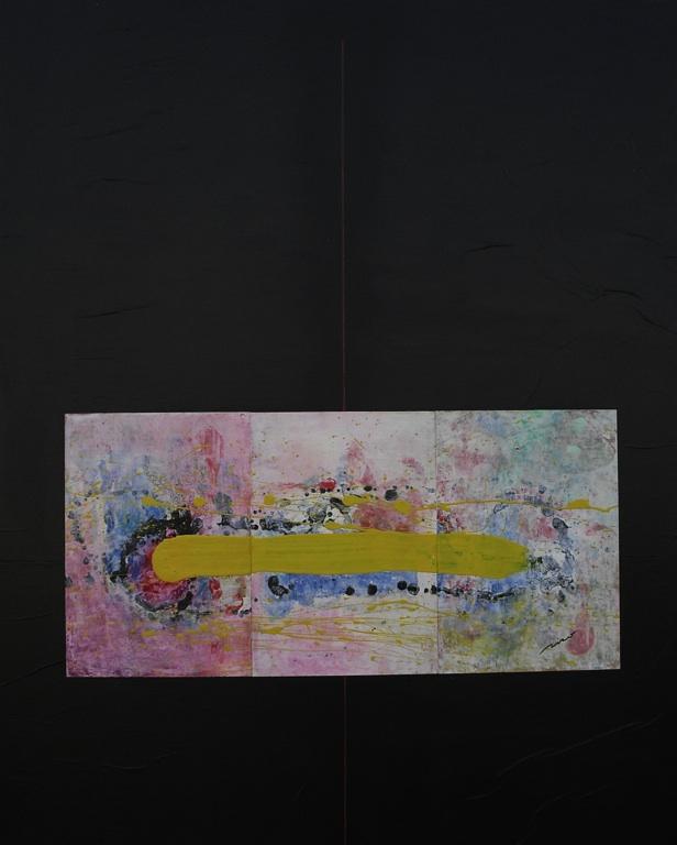 Raso amarillo a cambio demi vida (homenaje a G. Carnero) 80x100 acrílico y papel sobre tablero DM