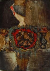 Undisired farewell (29,5 x 41,5cm) Collage,betún judea, acrílico y marmolina sobre papel-tela