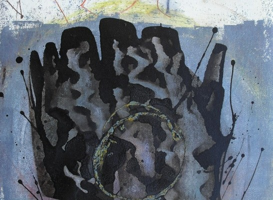 Abuelo-Nieto (29,5x41,5cm) óleo, tinta y betún judea sobre papel-tela