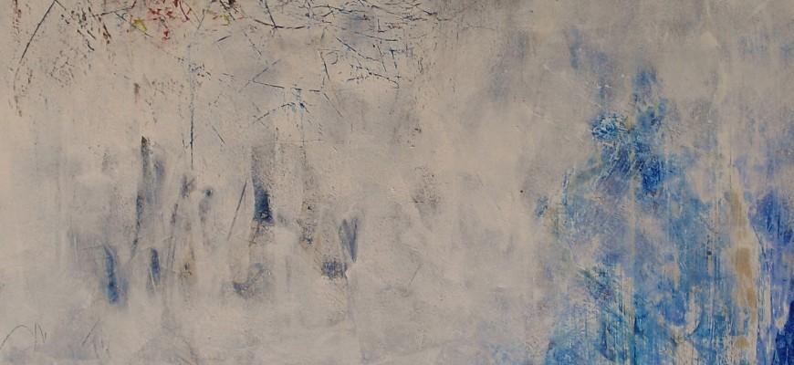 Une passion sur la mer (80x100cms) Acrílico y raspado sobre tablero DM