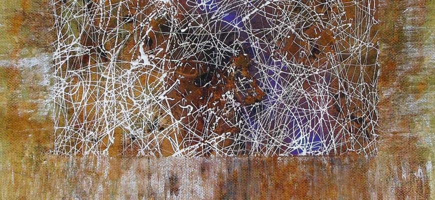Serie PERGAMINOS .-Nº1 Sueño Blanco (29X41 cms) óxido, acrílico y tinta sobre papel-tela.