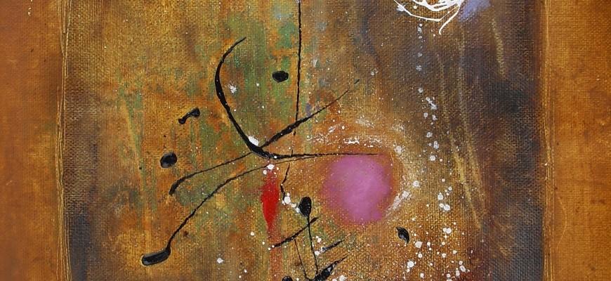 Serie  PERGAMINOS.- Nº3 Danza bajo una luna amable (29x41cms) Óxido, acrílico y pastel sobre papel-tela