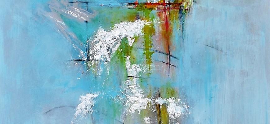 57) No todo en el cielo es azul (80x100cms) Técnica mixta sobre tablero DM. 2000 eur