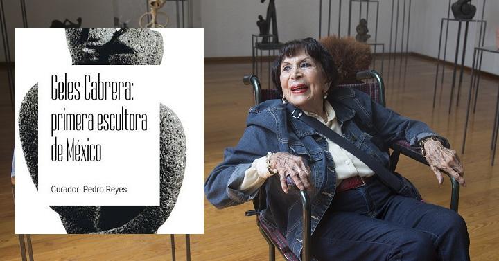 Geles Cabrera, la primera mujer escultora de México, en la inauguración de una exposición de su obra en el Museo Experimental El Eco