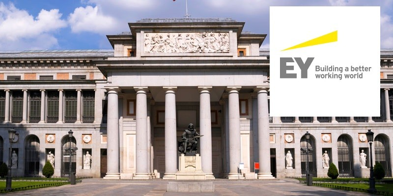 """View of the entrance of the Prado Museum, Madrid (Spain).). In the foreground, the famous Spanish painter, Velazquez."""
